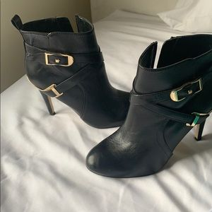 Black Leather high heel Boots by Marc Fisher